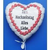 Zum Hochzeitstag Alles Liebe, Luftballon aus Folie mit Ballongas-Helium