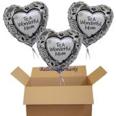 3 Herzballons aus Folie mit Helium zum Muttertag: To a wonderful mum - für eine wundervolle Mutter