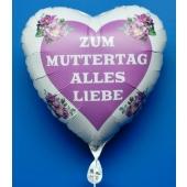 Zum-Muttertag-Alles-Liebe, weißer Herzluftballon aus-Folie mit Helium, verziert mit Herz und Blumen