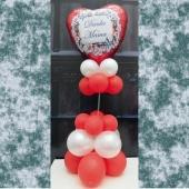 Danke Mama Ballondekoration und Tischdekoration zum Muttertag mit rotem Herzluftballon