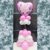 Mami ist die Beste! Ballondekoration, Tischdekoration. Luftballon in Herzform aus Folie, pinkfarben, ohne Helium zum Muttertag