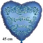 Zum Muttertag Danke! Herzluftballon in Satinblau, 45 cm, ohne Helium