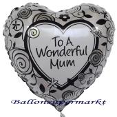 Herzballon aus Folie mit Helium zum Muttertag: To a wonderful mum