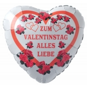 Zum Valentinstag Alles Liebe, Luftballon aus Folie mit Helium Ballongas, Liebesgrüße, Ballongrüße