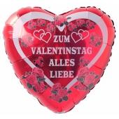 Zum Valentinstag Alles Liebe, roter Herz-Luftballon aus Folie mit Helium Ballongas, Liebesgrüße, Ballongrüße
