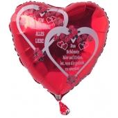Zum Valentinstag Alles Liebe! Das Schönste hier auf Erden, ist, von Dir geliebt zu werden! Roter Herzluftballon mit Helium