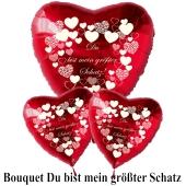 """Valentinstag Ballon-Bouquet rote Herzballons """"Du bist mein größter Schatz""""!"""