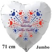Zum Vatertag alles Gute! Großer weißer Luftballon in Herzform zum Vatertag