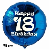 Luftballon aus Folie, blau, rund, 45 cm, zum 18. Geburtstag