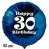 Luftballon aus Folie, blau, rund, 45 cm, zum 30. Geburtstag