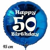 Luftballon aus Folie, blau, rund, 45 cm, zum 50. Geburtstag