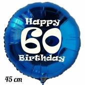 Luftballon aus Folie, blau, rund, 45 cm, zum 60. Geburtstag