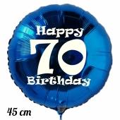 Luftballon aus Folie, blau, rund, 45 cm, zum 70. Geburtstag