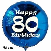 Luftballon aus Folie, blau, rund, 45 cm, zum 80. Geburtstag