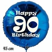 Luftballon aus Folie, blau, rund, 45 cm, zum 90. Geburtstag