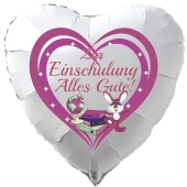 Zur Einschulung Alles Gute! Herzförmiger, weißer Luftballon mit Ballongas Helium gefüllt