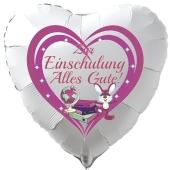 Zur Einschulung Alles Gute!. Weißer herzförmiger Luftballon inklusive Helium-Ballongas