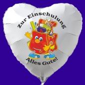 Zur Einschulung alles Gute, weißer Herzluftballon aus Folie inklusive Ballongas Helium