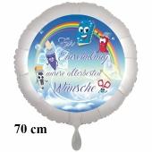 Zur Einschulung unsere allerbesten Wünsche. Großer Rundluftballon mit Helium