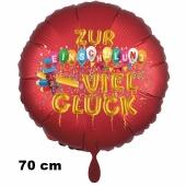 Zur Einschulung viel Glück, runder roter Luftballon aus Folie, 70 cm, inklusive Helium