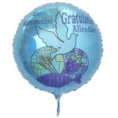 Zur Kommunion Gratulation - alles Gute, türkiser Luftballon aus Folie mit Helium
