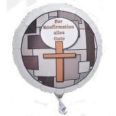 Zur Konfirmation alles Gute! Luftballon in Weiß aus Folie mit Helium