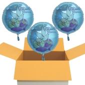 Zur Konfirmation Gratulation Alles Gute!, 3 Stück Luftballons in Türkis aus Folie mit Helium-Ballongas