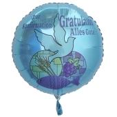 Zur Konfirmation Gratulation Alles Gute!, Luftballon in Türkis aus Folie mit Helium