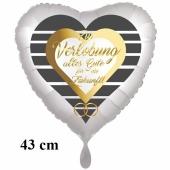 Zur Verlobung alles Hute für die Zukunft! Herzluftballon, 43 cm, satinweiß, ohne Helium