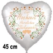 Zur Hochzeit herzlichen Glückwunsch! Herzballon zur Hochzeit, Folienballon inklusive Helium