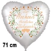 Zur Hochzeit herzlichen Glückwunsch! 71 cm großer Herzballon zur Hochzeit, Folienballon inklusive Helium
