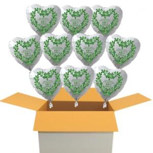 10 weiße Herzluftballons aus Folie zur Petersilienhochzeit, Herzlichen Glückwunsch 12 ½ Jahre