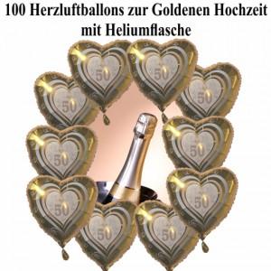 Ballons Helium Set Maxi Goldene Hochzeit. 100 goldene Herzluftballons mit Heliumflasche