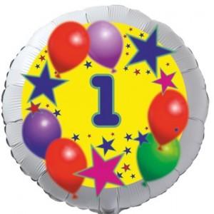 Sterne und Ballons, Luftballon aus Folie zum 1. Geburtstag, ohne Ballongas