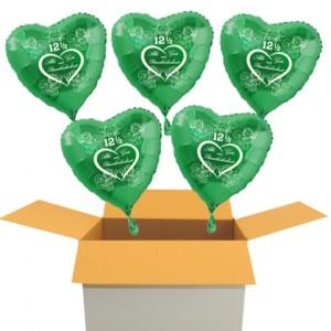 5 grüne Herzluftballons aus Folie, Alles Gute zur Petersilienhochzeit