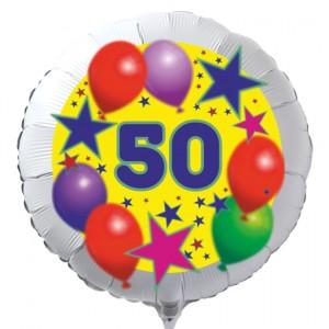 Luftballon aus Folie zum 50. Geburtstag, weisser Rundballon, Sterne und Luftballons, inklusive Ballongas