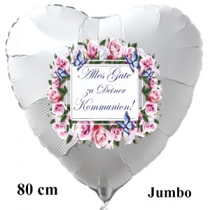 Alles Gute zu Deiner Kommunion, Großer Herzluftballon in Weiß, Vintage-1, mit Helium