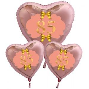 Ballon-Bouquet Herzluftballons aus Folie, Rosegold, zum 85. Geburtstag, Rosa-Gold