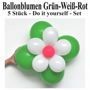 Blumen aus Luftballons, Ballonblumen-Set, Grün-Weiß-Rot, 5 Stück