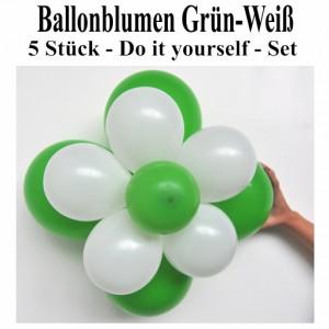 Ballonblumen aus Luftballons, Grün-Weiß, Set aus 5 Stück