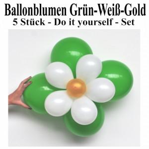 Blumen aus Luftballons, Ballonblumen-Set, Grün-Weiß-Gold, 5 Stück
