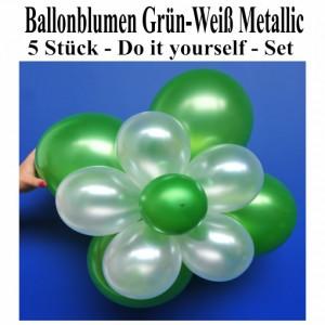 Blumen aus Luftballons, Ballonblumen-Set, Grün-Weiß-Metallic, 5 Stück