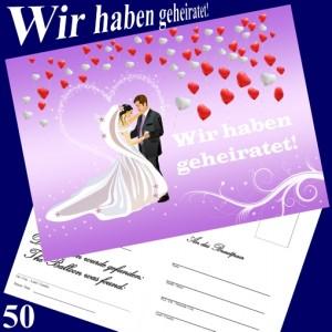 Ballonflugkarten Hochzeit - Wir haben geheiratet! Herzluftballons - 50 Stück