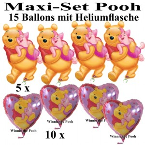 Ballons Helium Set Maxi Winnie the Pooh, Pu Bär, Kindergeburtstag