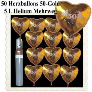 Ballons Helium Set Dekoration Goldene Hochzeit, 50 Herzballons 50 Gold, 5 Liter Helium-Mehrweg