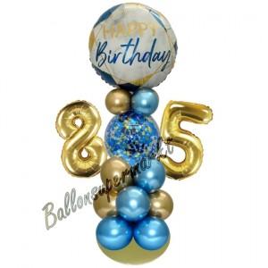 LED Ballondeko zum 85. Geburtstag in Blau und Gold