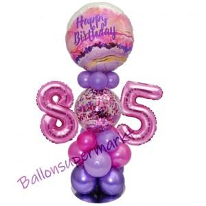 LED Ballondeko zum 85. Geburtstag in Pink und Lila