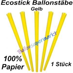 Ecostick Ballonstab aus 100 % Papier, gelb, 1 Stück