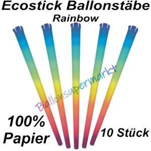 Ecostick Ballonstäbe aus 100 % Papier, Rainbow, 10 Stück
