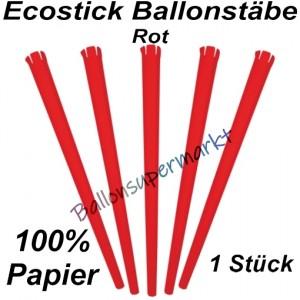 Ecostick Ballonstab aus 100 % Papier, rot, 1 Stück